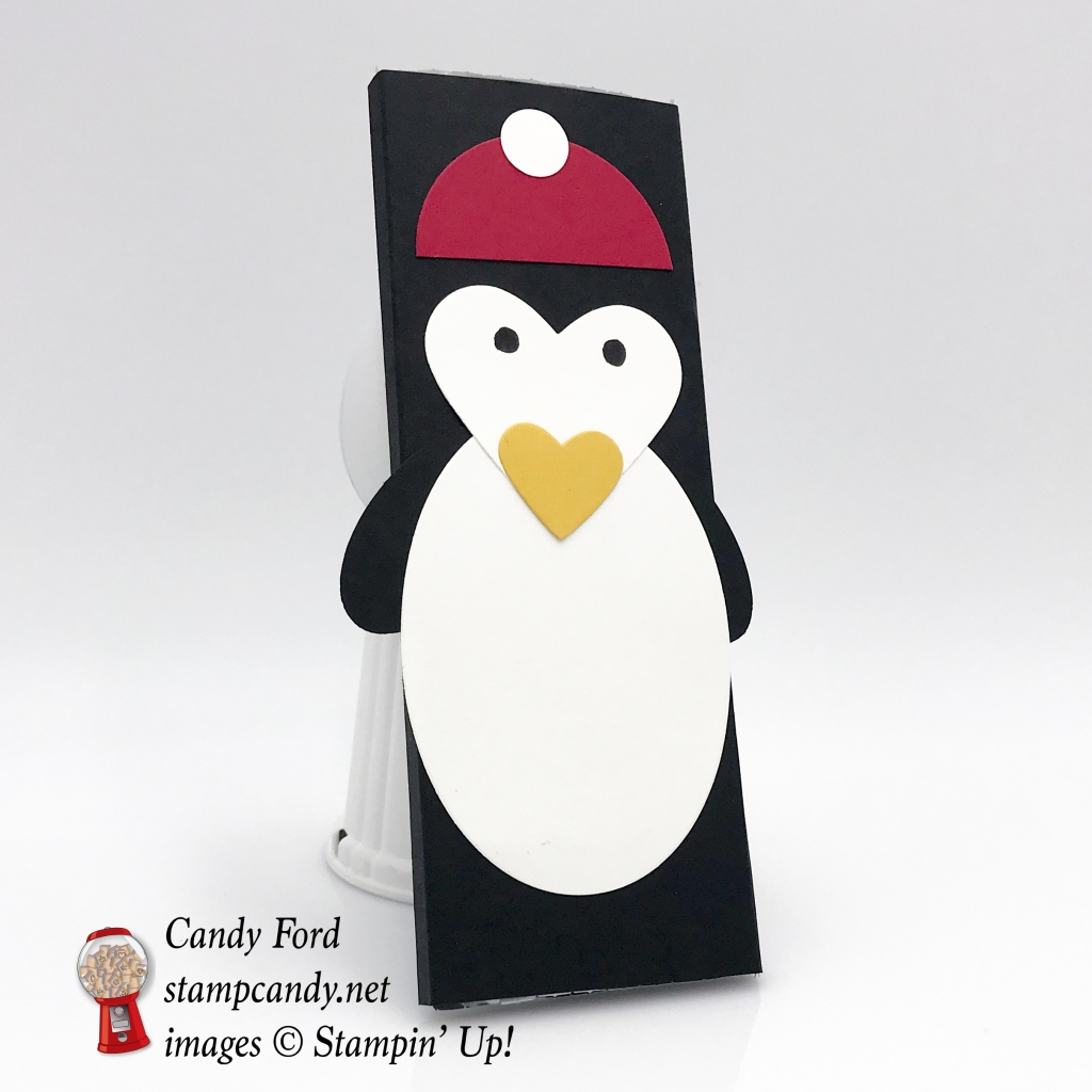 """Penguin Hershey Bar cover for Christmas gifts. Layering Circles and Layering Ovals Framelits Dies, Sweet & Sassy Framelits Dies, 1/2"""" Circle Punch, by Stampin' Up! #stampcandy"""