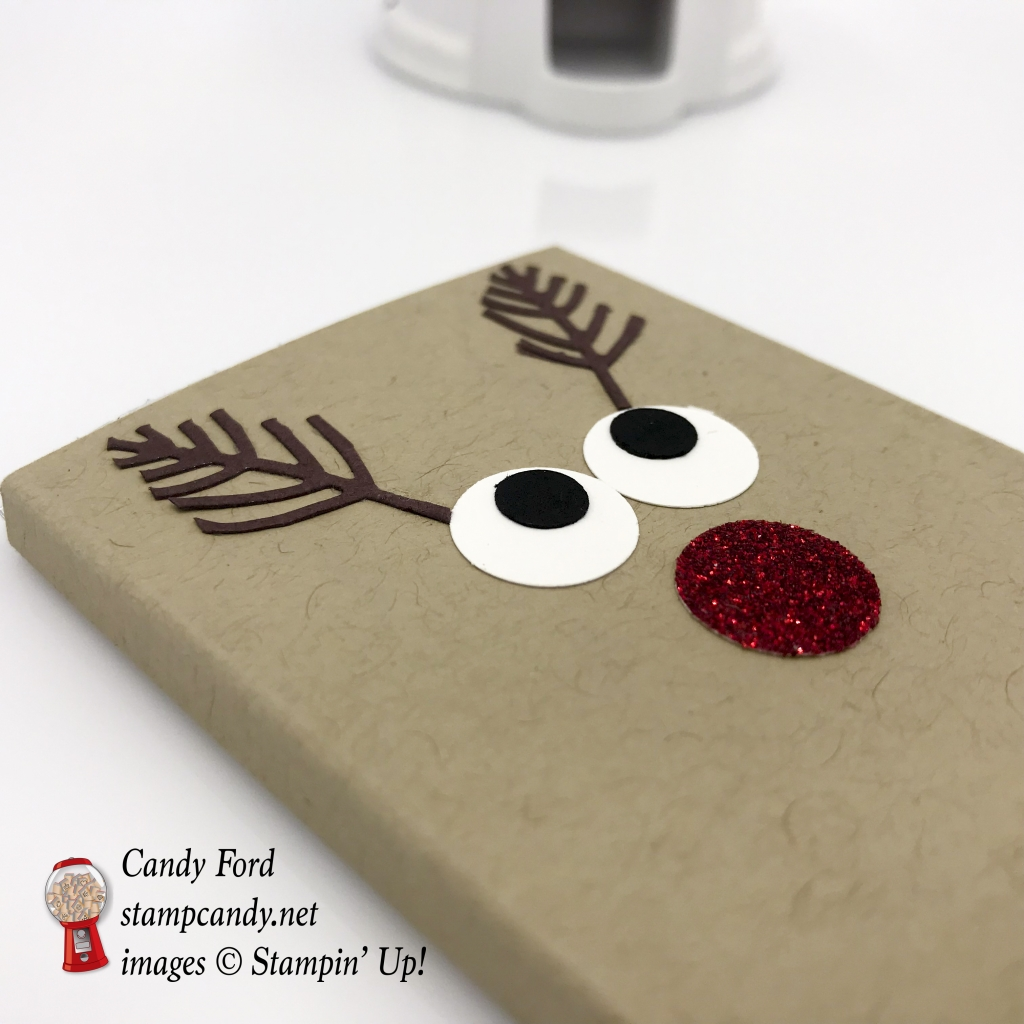 """Reindeer Hershey Bar cover for Christmas gifts. 1/2"""" Circle Punch, Red Glimmer Paper, Seasonal Layers Thinlits Dies by Stampin' Up! #stampcandy"""