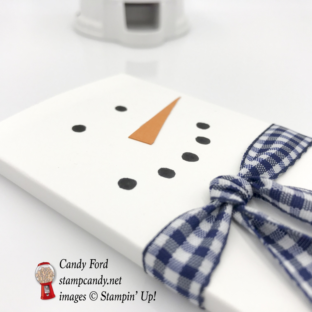 """Snowman Hershey Bar cover for Christmas gifts. Night of Navy 1/2"""" Gingham Ribbon by Stampin' Up! #stampcandy"""
