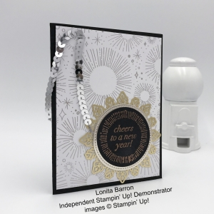 Lonita Barron New Year card, Cheers to the Year, Year of Cheer, Foil Snowflakes, heal emboss, silver sequin trim, Stampin' Up!