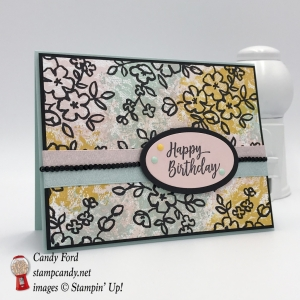 Happy Birthday card made with Petal Passion paper and the Southern Serenade stamp set. Colors are Powder Pink, Pool Party and Crushed Curry. Stampin
