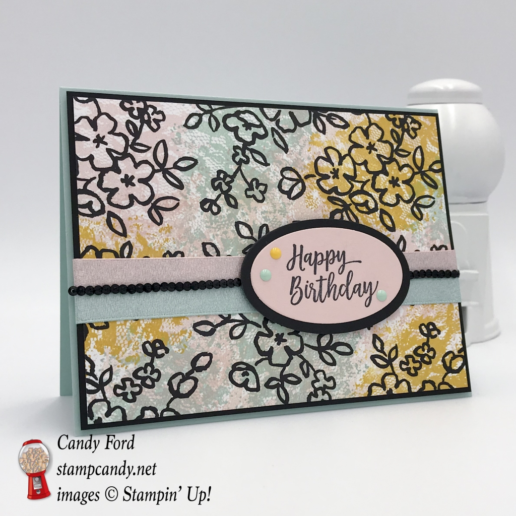 Happy Birthday card made with Petal Passion paper and the Southern Serenade stamp set. Colors are Powder Pink, Pool Party and Crushed Curry. Stampin' Up! #stampcandy