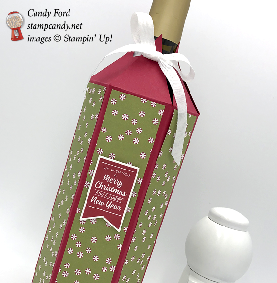Stampin' Up! Brightly lit Christmas and Christmas Around the World DSP wine bottle gift wrap cover by Candy Ford of Stamp Candy