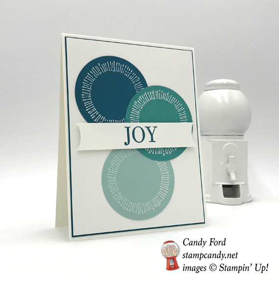 Stampin' Up! Cheers to the Years handmade joy circle card by Candy Ford of Stamp Candy