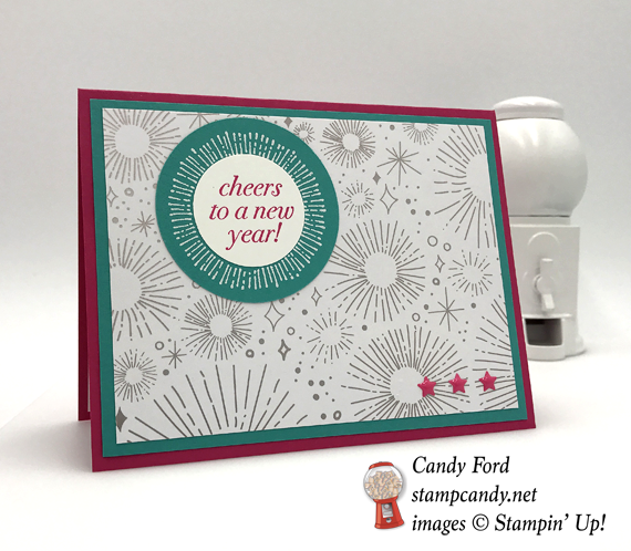 Stampin' Up! Cheers to the Years handmade new years day card by Candy Ford of Stamp Candy