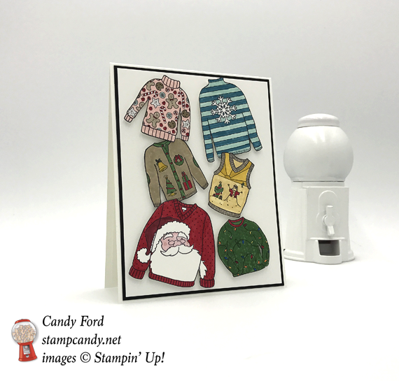 Stampin' Up! You've Got Style Christmas Sweaters handmade Christmas card by Candy Ford of Stamp Candy