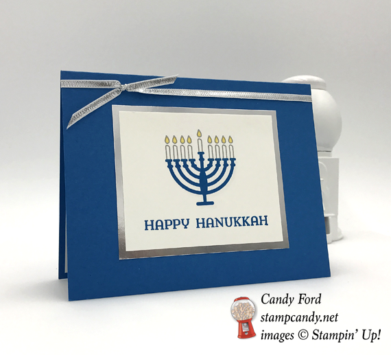 Stampin' Up! Happy Hanukkah Seasonal Lanterns Menorah card by Candy Ford of Stamp Candy