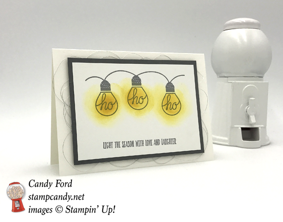 Stampin' Up! Ho Ho Ho lights Wishes All Aglow holiday card by Candy Ford of Stamp Candy
