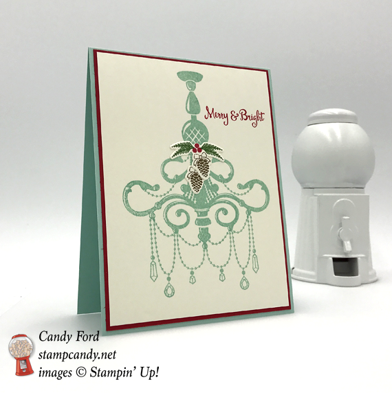 Stampin' Up! Merry & Bright Season to Sparkle chandelier handmade christmas card by Candy Ford of Stamp Candy