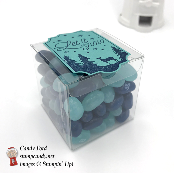 Stampin' Up! Merry Little Labels Let it Snow clear acetate box of jelly beans gift by Candy Ford of Stamp Candy