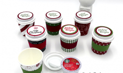 Stampin' Up! Merry Little Labels mini coffee cup k-cup holder by Candy Ford of Stamp Candy