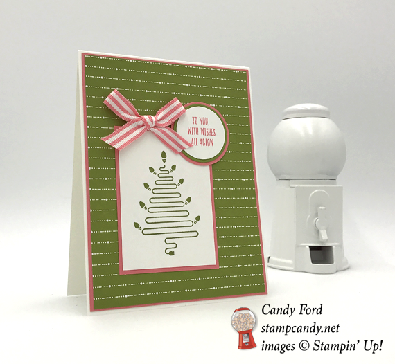 Stampi' Up! Pink & Green Wishes All Aglow handmade Christmas card by Candy Ford of Stamp Candy