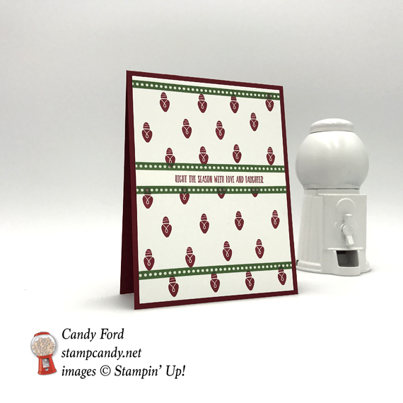 Stampin' Up! Wishes All Aglow handmade Christmas card by Candy Ford of Stamp Candy