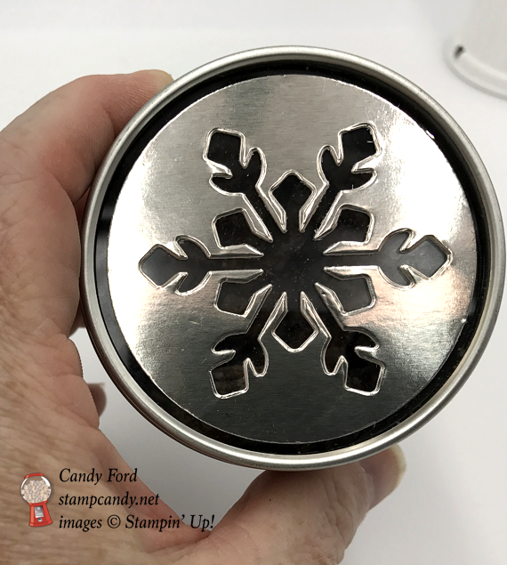 Stampin' Up! Year of Cheer specialty DSP designer series paper copper foil wrapped jar with snowflake top by Candy Ford of Stamp Candy