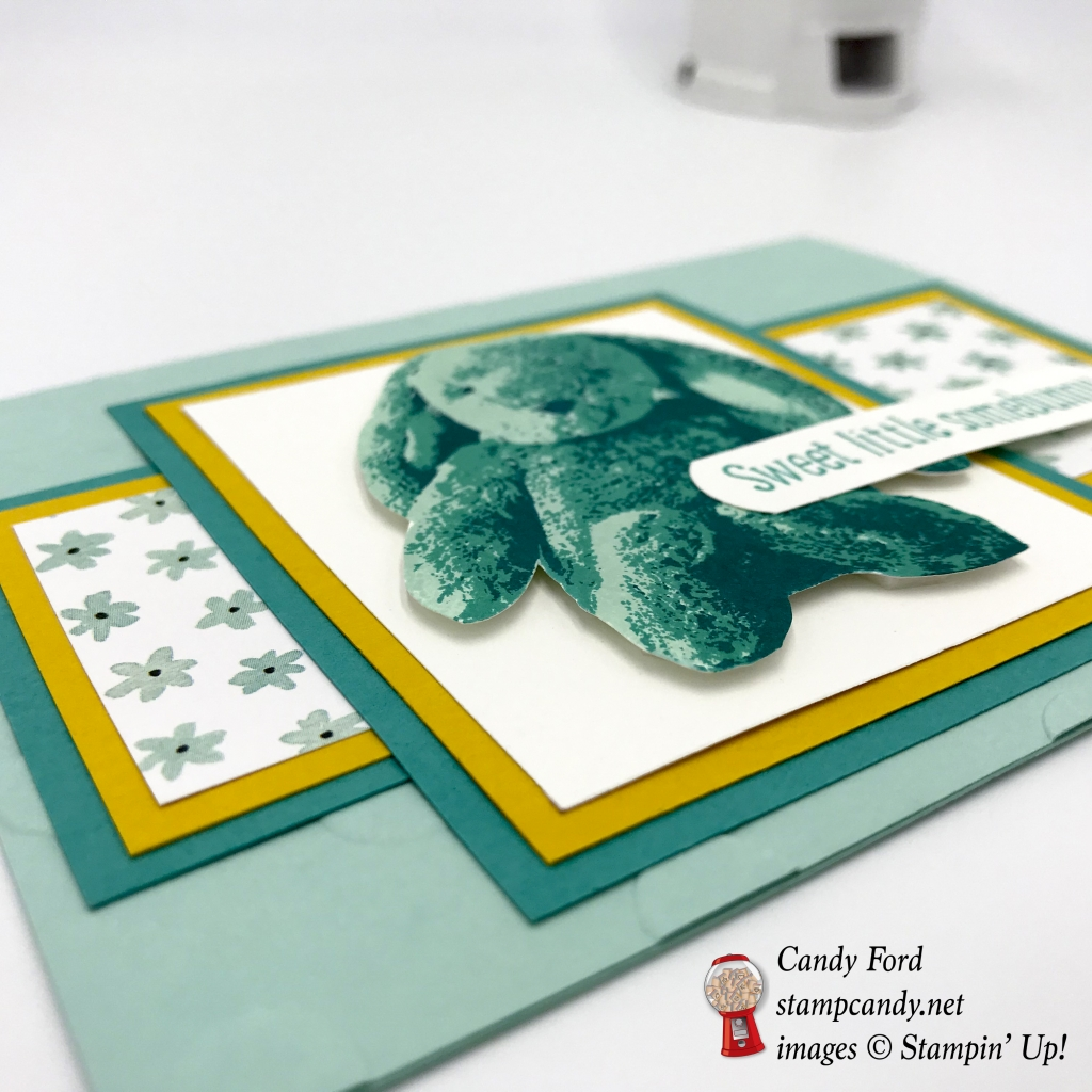 This very sweet card is made with the Sweet Little Something stamp set, Whole Lotta Lovely Designer Series Paper, and card stock in Pool Party, Bermuda Bay, and Crushed Curry, all by Stampin' Up! #stampcandy