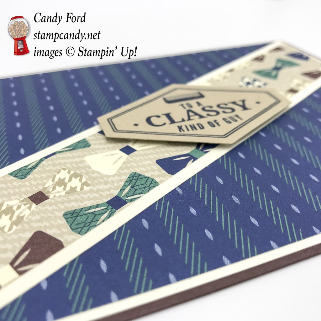 Here's a card for a classy kind of guy, made with the new True Gentleman suite of products by Stampin' Up! It can be for a birthday, Father's day, or some other event. #stampcandy