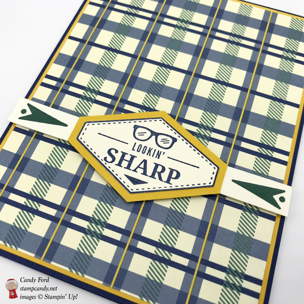Great guy card, Lookin' Sharp, made with the Truly Tailored stamp set, Tailored Tag Punch, and True Gentleman paper by Stampin' Up! #stampcandy