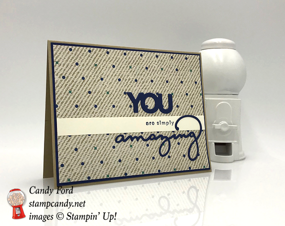 2018 Saleabration amazing you, celebrate you thinlits and true gentleman dsp handmade card by Candy Ford of Stamp Candy.