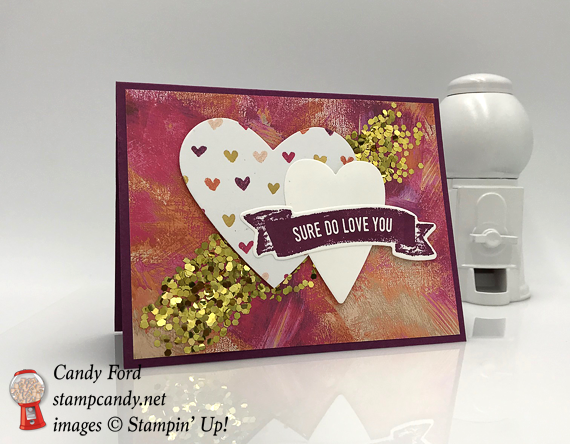 2018 stampin up occasions painted with love suite sure do love you handmade card by Candy Ford of Stamp Candy