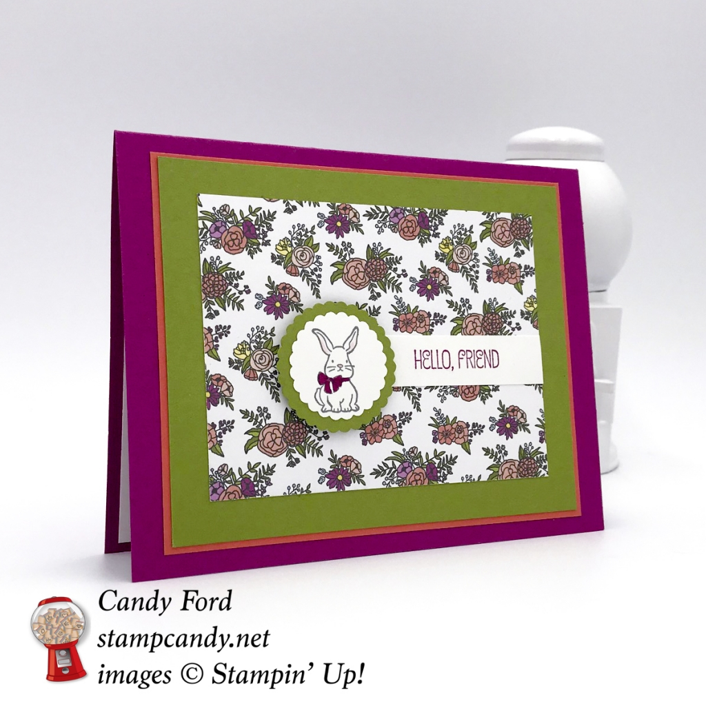 Hello, Friend! This sweet card is made with the A Good Day stamp set, sweet Soiree Memories & More Card Pack, and Scallop Circle Punches by Stampin' Up! #stampcandy