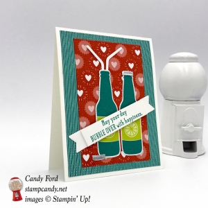 This card is made with the Bubble Over stamp set & Bottles & Bubbles Framelits Dies (it