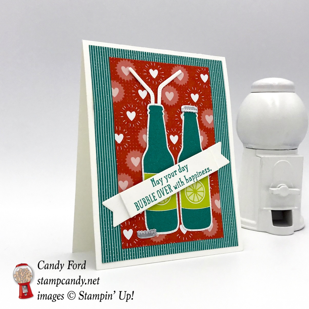 This card is made with the Bubble Over stamp set & Bottles & Bubbles Framelits Dies (it's a bundle!), Bubbles & Fizz Designer Series Paper (DSP,) and the Cupcake Cutout Framelits Dies, by Stampin' Up! May your day bubble over with happiness. #stampcandy