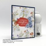 Handmade card with just add text and colorful seasons bundle delightful daisy dsp by Candy Ford of Stamp Candy