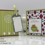 Sweet card and tealight candle holder made with the Tutti Frutti suite: Fruit Basket stamp set, Itty Bitty Fruit Punch Pack, Tutti Frutti Designer Series Paper, Tutti Frutti Adhesive Backed Sequins, Tutti Frutti Cards & Envelopes, Tutti-Frutti Washi Tape, Eastern Medallions Thinlits, Stampin