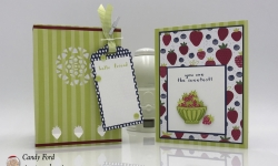 Sweet card and tealight candle holder made with the Tutti Frutti suite: Fruit Basket stamp set, Itty Bitty Fruit Punch Pack, Tutti Frutti Designer Series Paper, Tutti Frutti Adhesive Backed Sequins, Tutti Frutti Cards & Envelopes, Tutti-Frutti Washi Tape, Eastern Medallions Thinlits, Stampin' Up! #stampcandy
