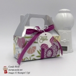 Silver Gable Box with Sweet Soiree Suite, Cake Soiree stamp set, Berry Burst ribbon, Silver Twine, by Stampin