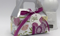 Silver Gable Box with Sweet Soiree Suite, Cake Soiree stamp set, Berry Burst ribbon, Silver Twine, by Stampin' Up! #stampcandy