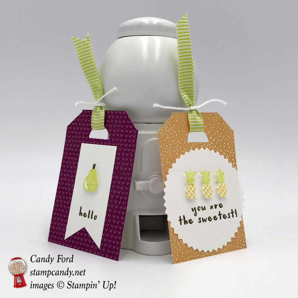 """Tags made with the Tutti-frutti swuite: Tutti-frutti Designer Series Paper DSP, Fruit Basket Bundle (Fruit Basket stamp set and Itty Bitty Fruit Punch Pack,) and Lemon Lime Twist 3/8"""" Mini Striped Ribbon, also Whisper White Solid Twine, Starburst Punch, by Stampin' Up! #stampcandy"""