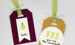 "Tags made with the Tutti-frutti swuite: Tutti-frutti Designer Series Paper DSP, Fruit Basket Bundle (Fruit Basket stamp set and Itty Bitty Fruit Punch Pack,) and Lemon Lime Twist 3/8"" Mini Striped Ribbon, also Starburst Punch, by Stampin' Up! #stampcandy"