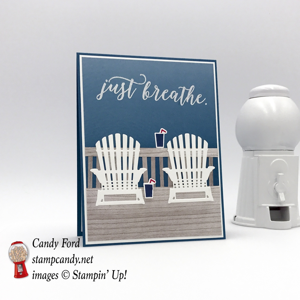 Stampin' Up! Colorful Seasons Adirondack charis and drinks on porch by Candy Ford of Stamp Candy