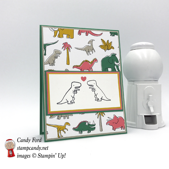 Mirror Stamping Technique Pick a Pattern DSP and Pieces and Patterns stamp set handmade dinosaur card by Candy Ford of Stamp Candy
