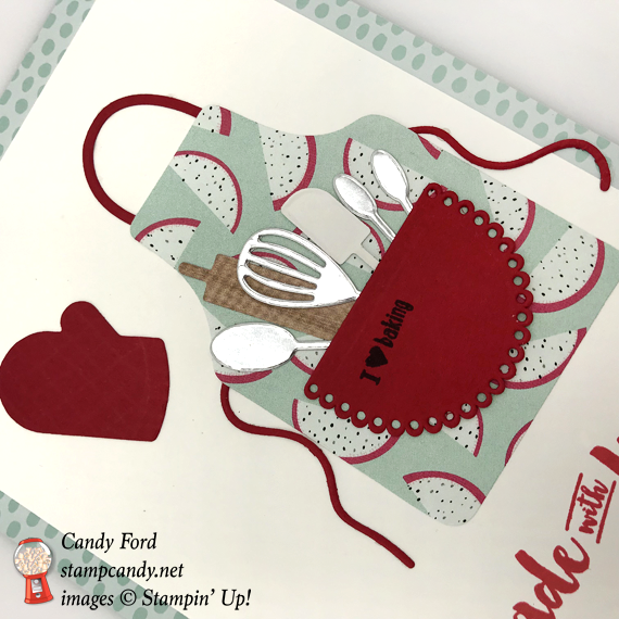 Stampin' Up! Apron of Love handmade with love of baking handmade card by Candy Ford of Stamp Candy