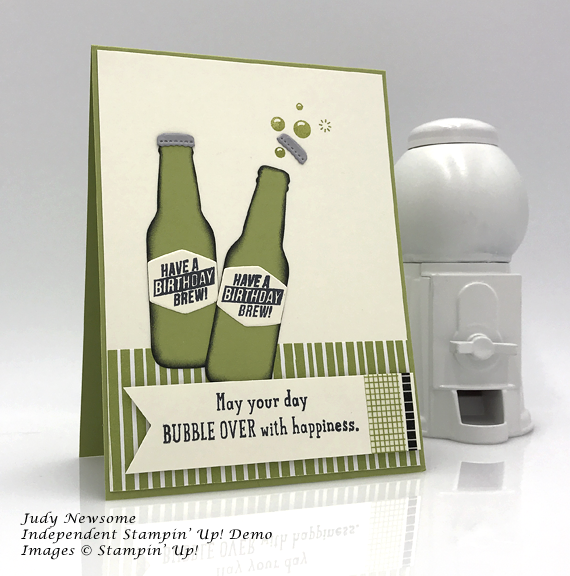 Stampin' Up! buble over birthday brew handmade card by Judy Newsome of Stamp Candy