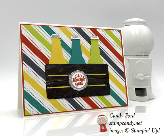 Stampin' Up! Bubble Over soda pop bottles in a crate handmade card by Candy Ford of Stamp Candy