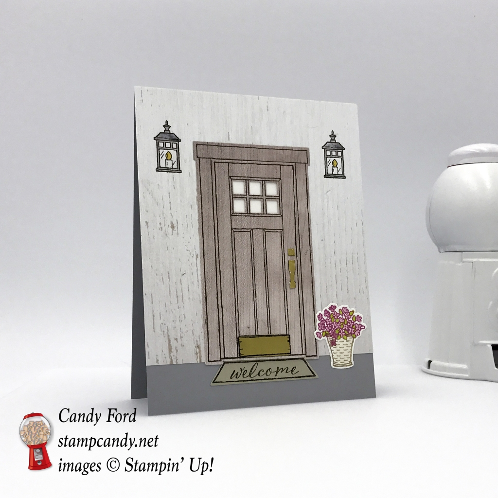 Handmade welcome card using Stampin' Up! at home with you bundle by Candy Ford of Stamp Candy