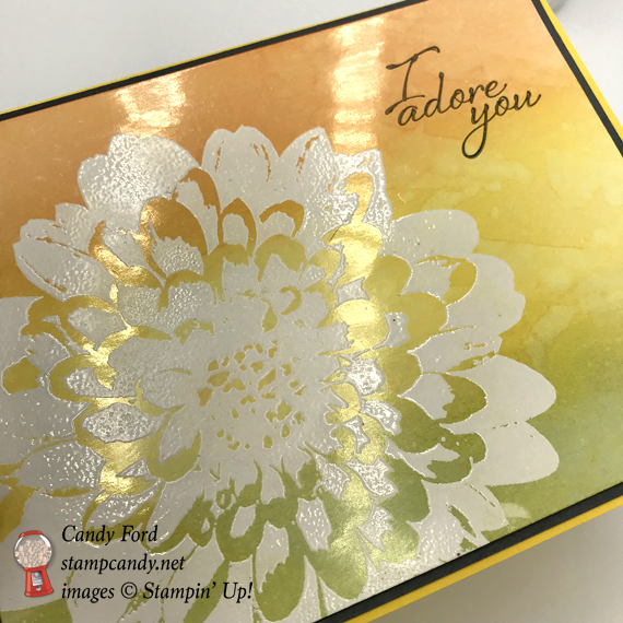White Embossed Stampin' Up! Definately Dahlia with brayered background by Candy Ford of Stamp Candy