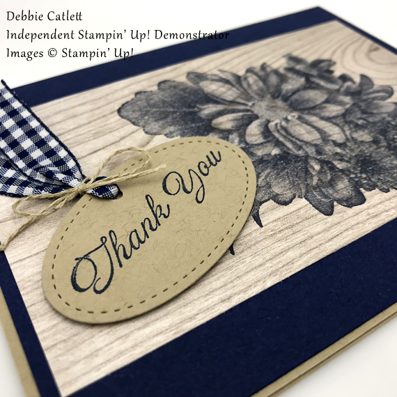 Debbie Catlett Stampin Up Heartfelt Blooms handmade card in Navy on wood for Stamp Candy