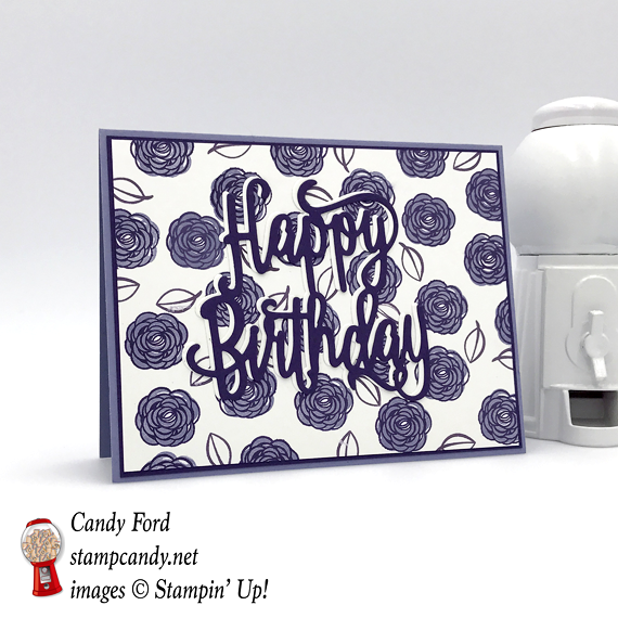 Stampin' Up! handmade card made using the Happy Birthday thinlit die and the Happy Birthday Gorgeous stamp set by Candy Ford of Stamp Candy
