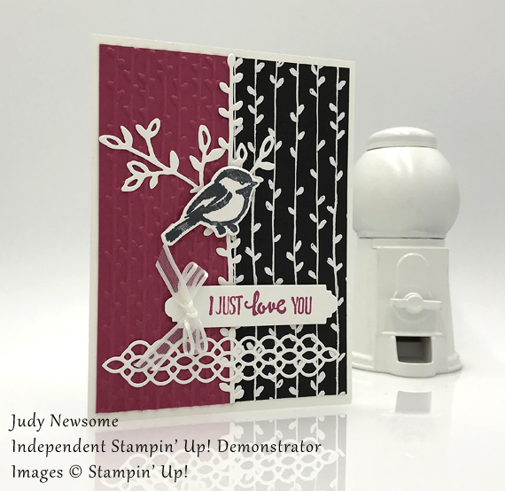 Judy Newsome handmade card using Stampin' Up! Petal Palette with bird for Stamp Candy closeup