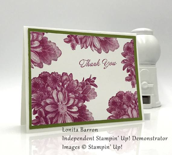 Lonita Barrons handmade thank you card made using Stampin' Up! 2018 Saleabration stamp set Heartfelt Blooms for Stamp Candy