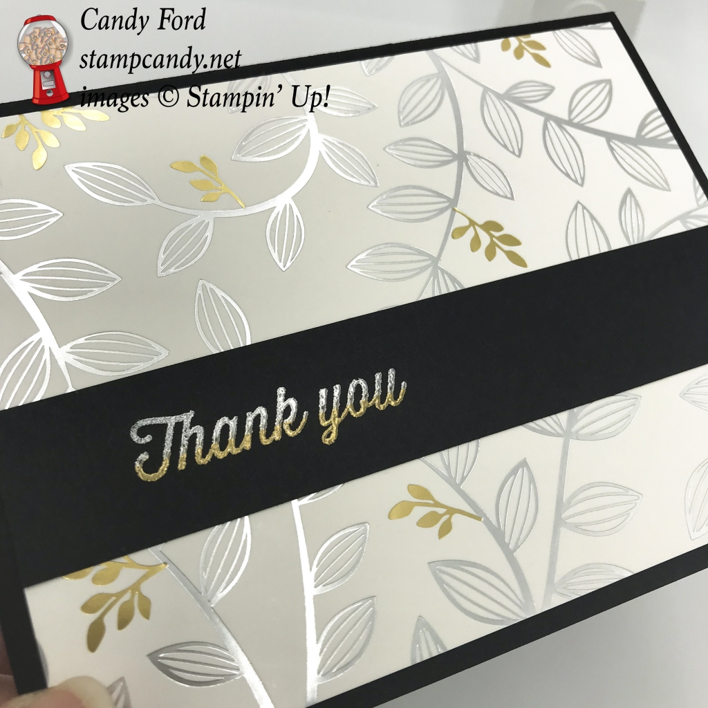 Springtime Foils Specialty DSP thank you card #stampcandy #thankyoucard