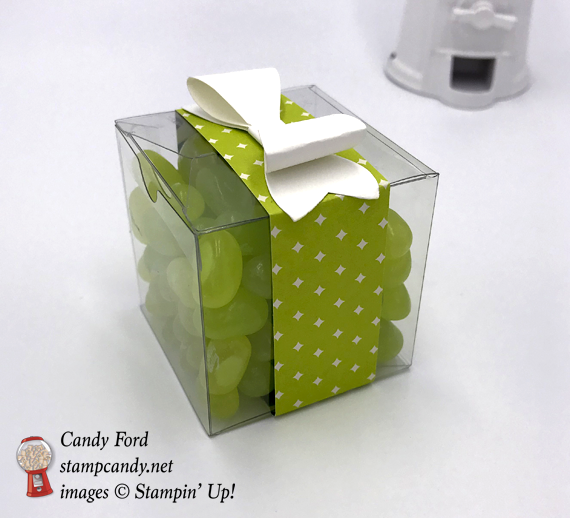 "2"" x 2"" acetate box filled with Jelly Beans and decorated with Stampin' Up! DSP and a Bow made with the Bow Builder Punch"