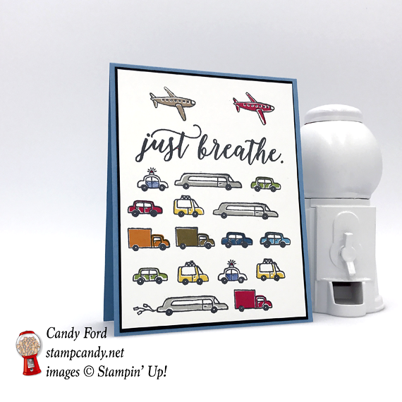 Stampin' Up! Just Breathe Traffic in the City stamp set made by Candy Ford of Stamp Candy
