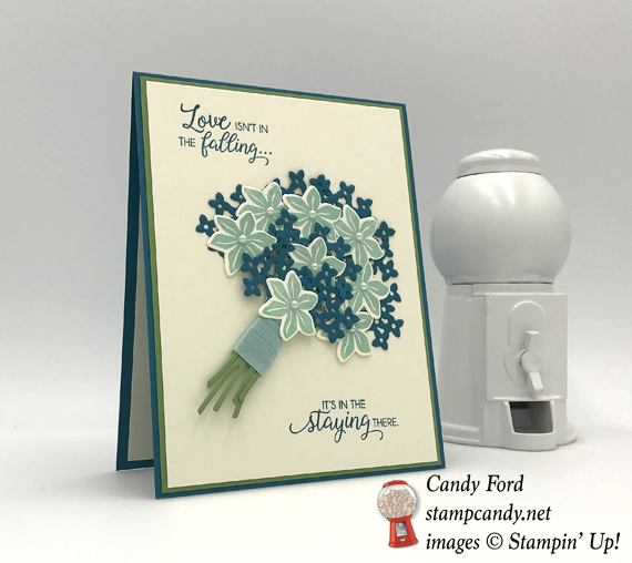 Stampin' Up! Beautiful Bouquet bundle of blue flowers handmade card by Candy Ford of Stamp Candy