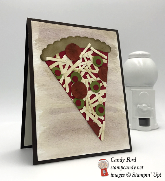 Stampin' Up! Dad Jokes handmade birthday card for Dad with punch art pizza by Candy Ford of Stamp Candy