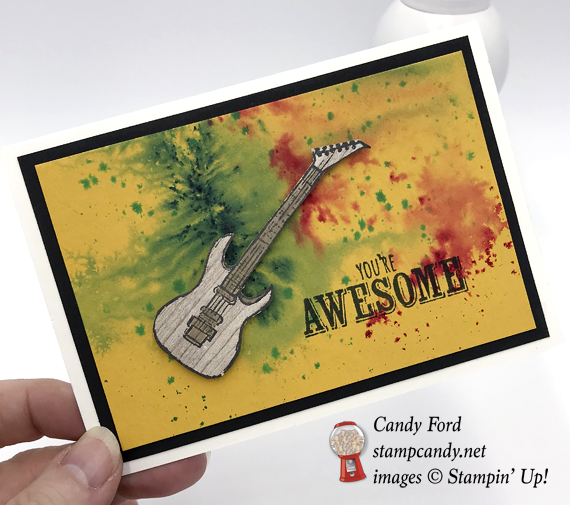 Stampin' Up! Epic Celebraton You're Awesome Guitar with Brusho background by Candy Ford of Stamp Candy
